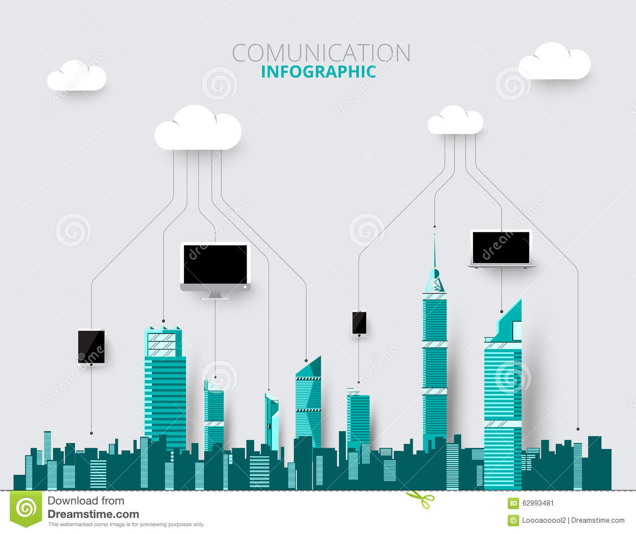 City Skylines Background Vector Illustration Flat City