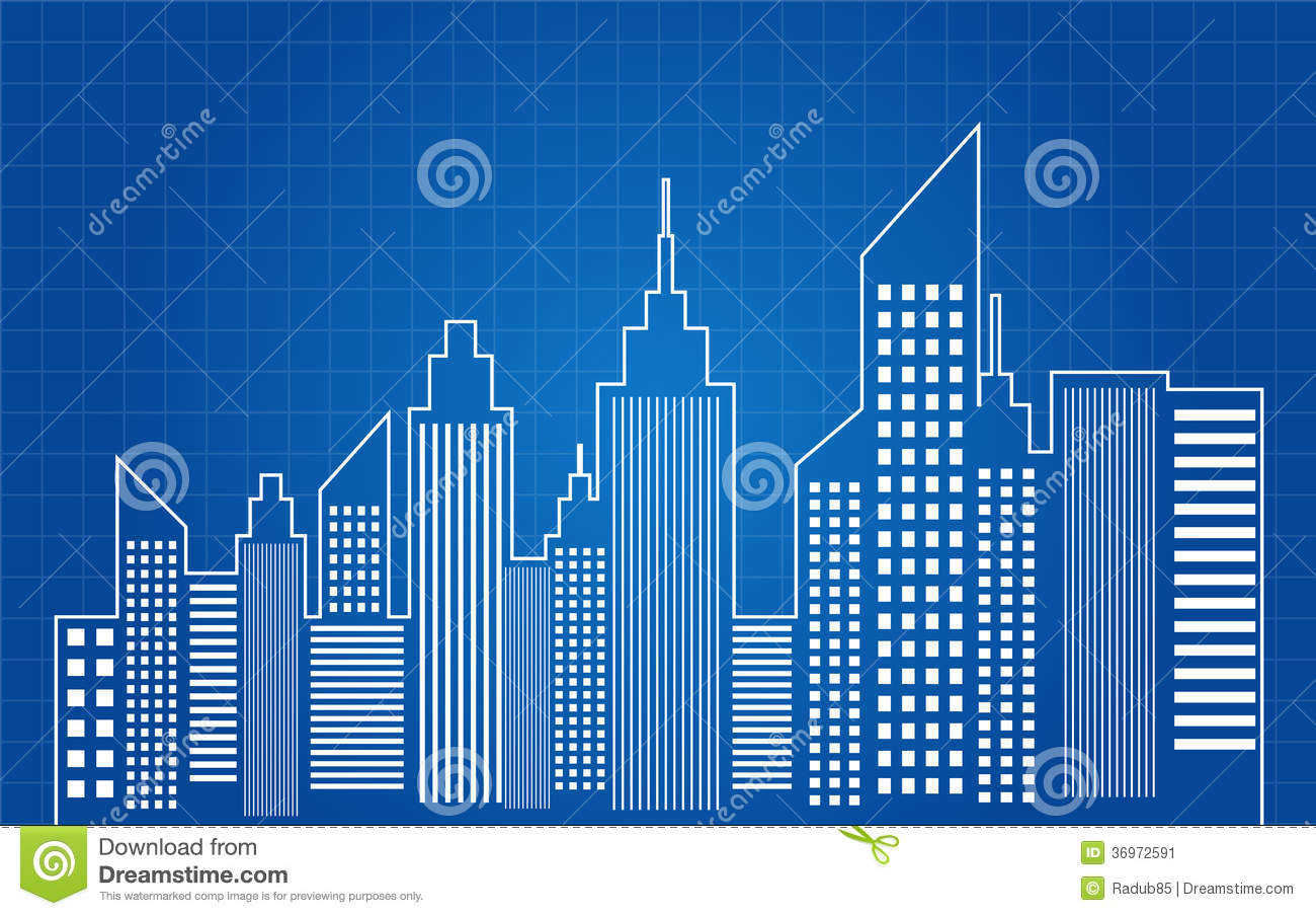 City skyscrapers skyline blueprint stock image image Blueprint builder free