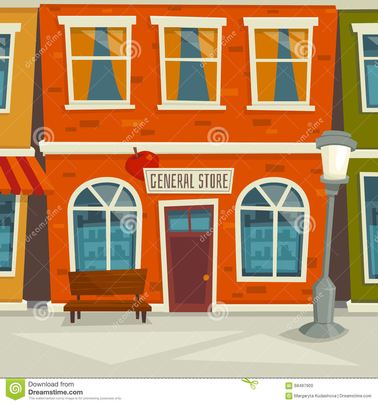 City street background with shop building cartoon vector for Exterior background