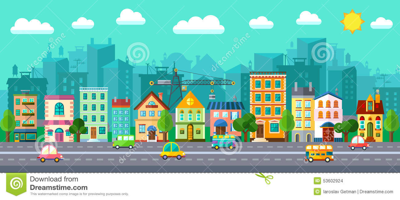 City street in a flat design stock vector image 53602924 for Flat design pictures