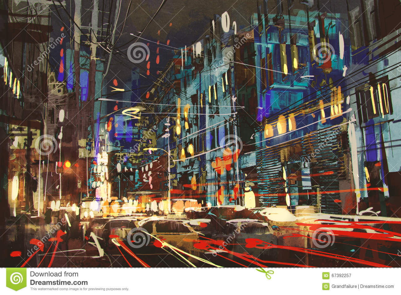 city street at night with colorful lights stock