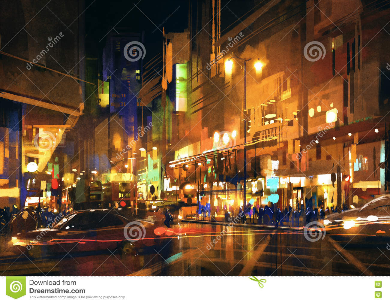 city street at night with colorful lightspainting stock