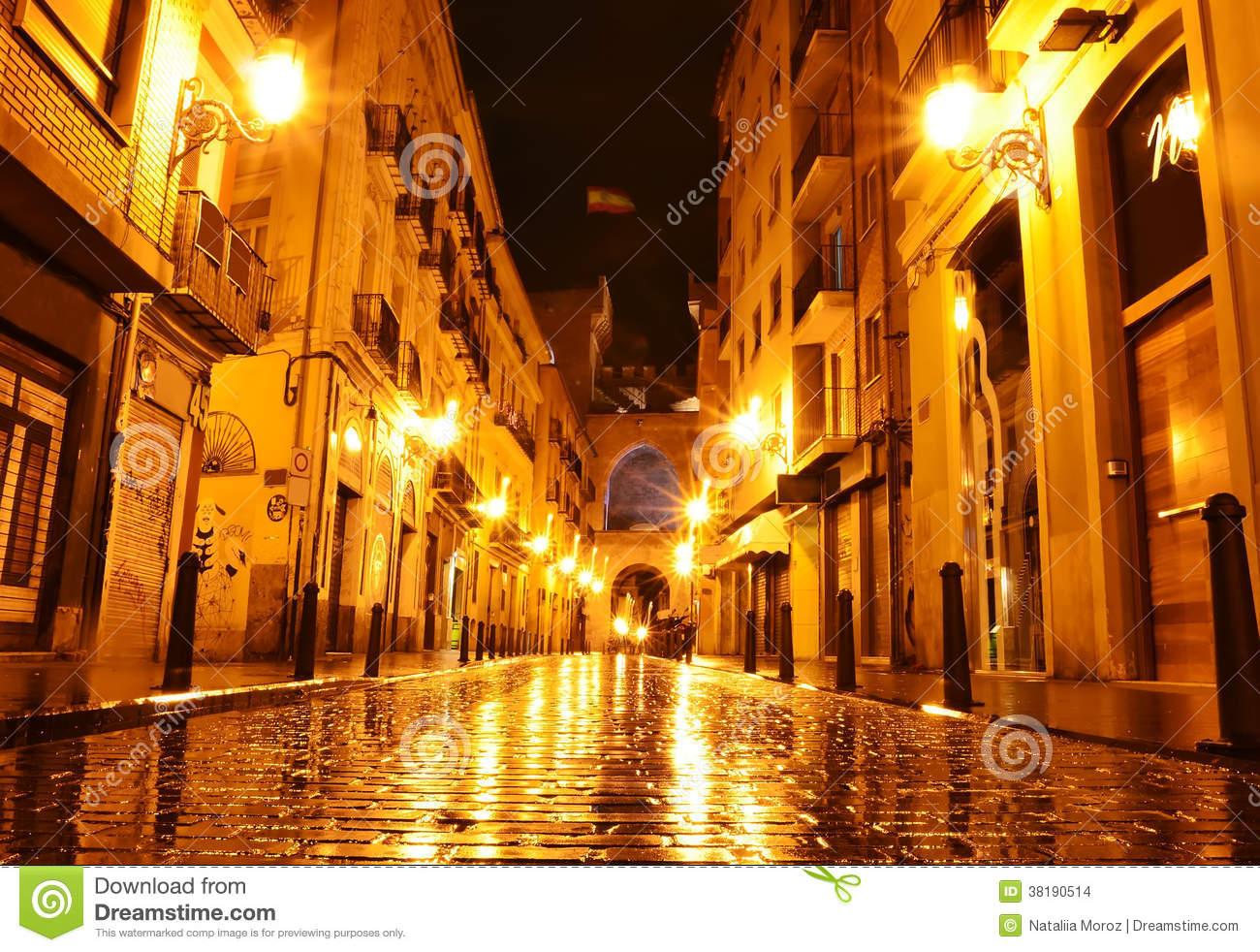 city street in night valencia spain stock images image