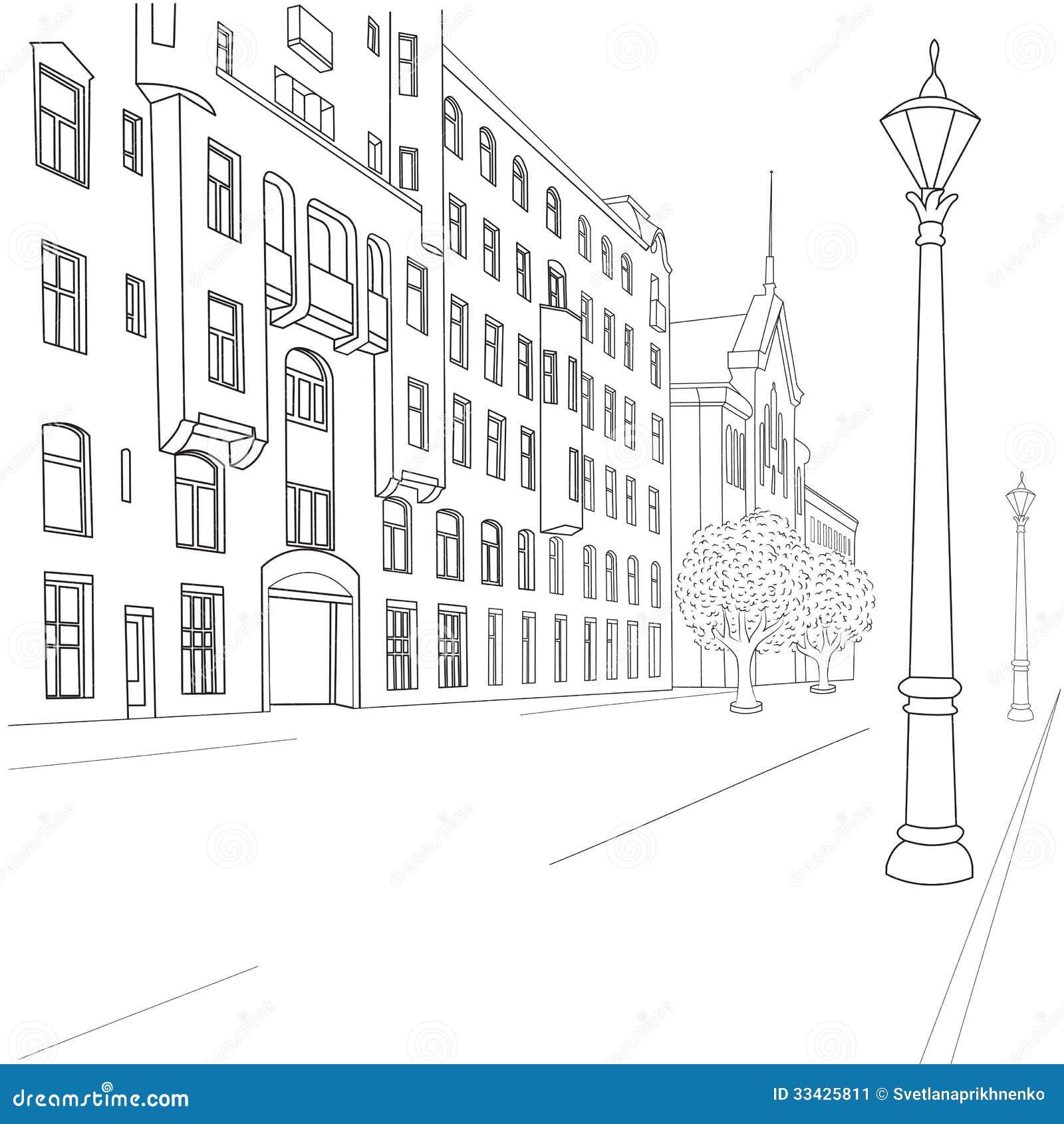 Городской пейзаж черно белый рисунки детей 2