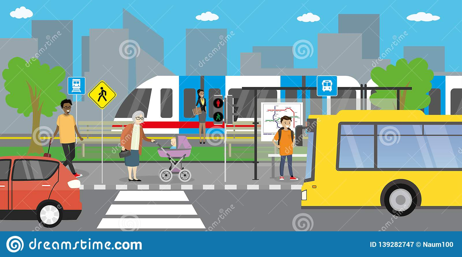 City street and road,public transport stop,different transportation