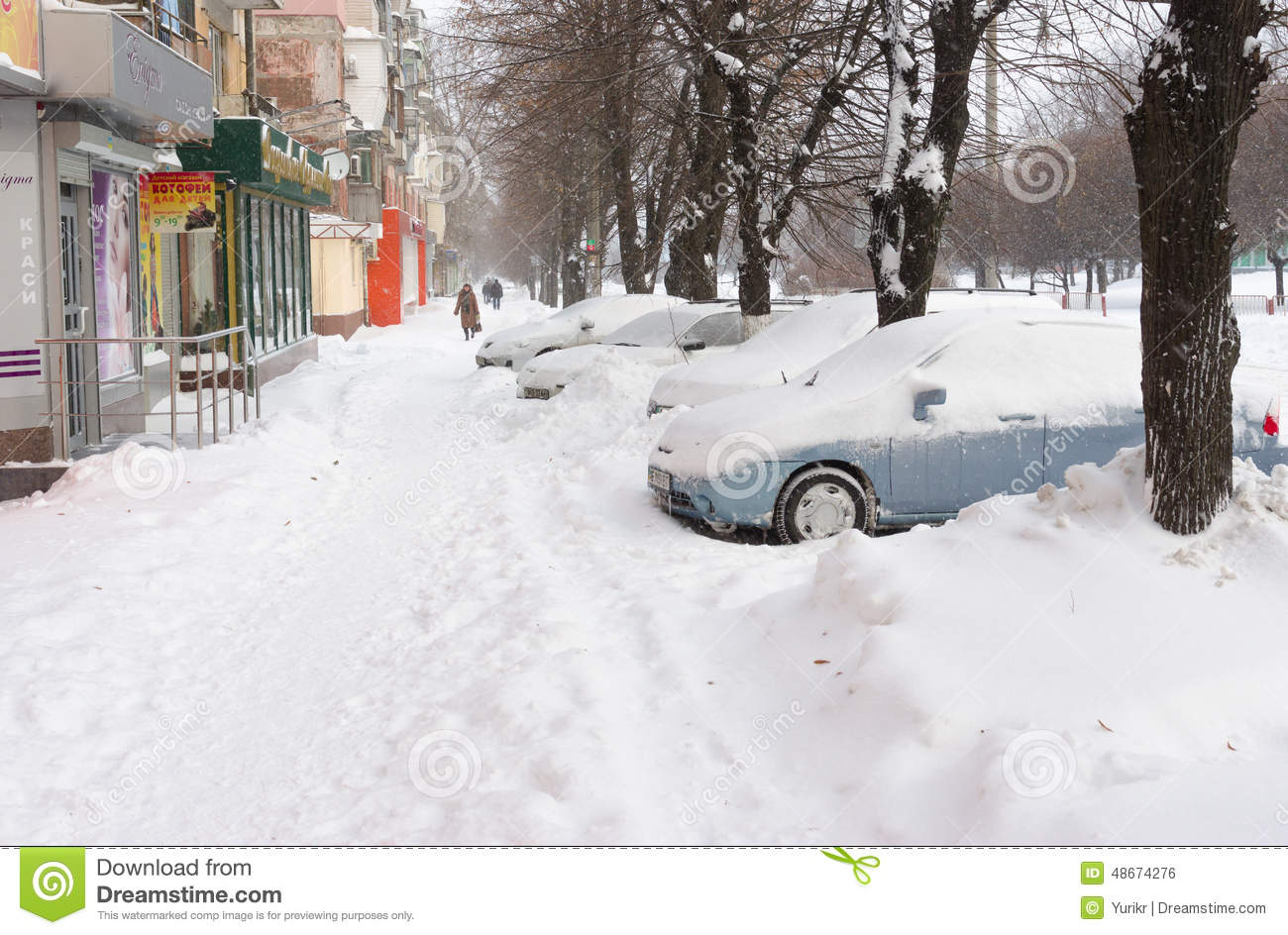 Download City Street After A Snow Storm Editorial Photo - Image of outdoor, walk: 48674276