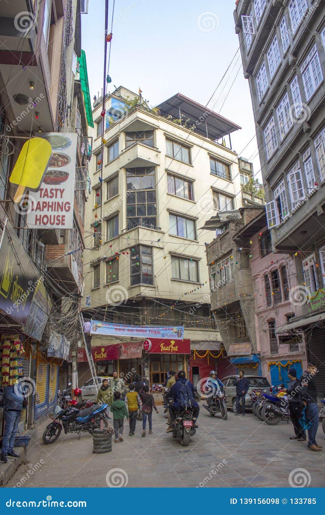 City street and traffic in Kathmandu