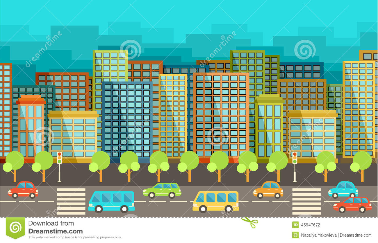 City in the style of flat design stock vector image for Design in the city
