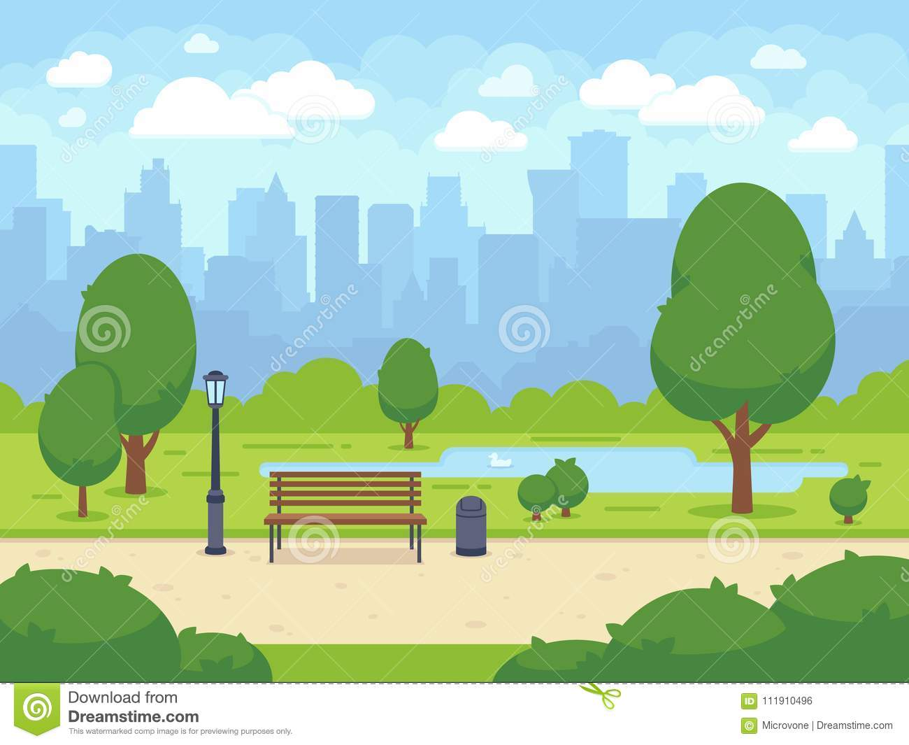 City summer park with green trees bench, walkway and lantern. Cartoon vector illustration