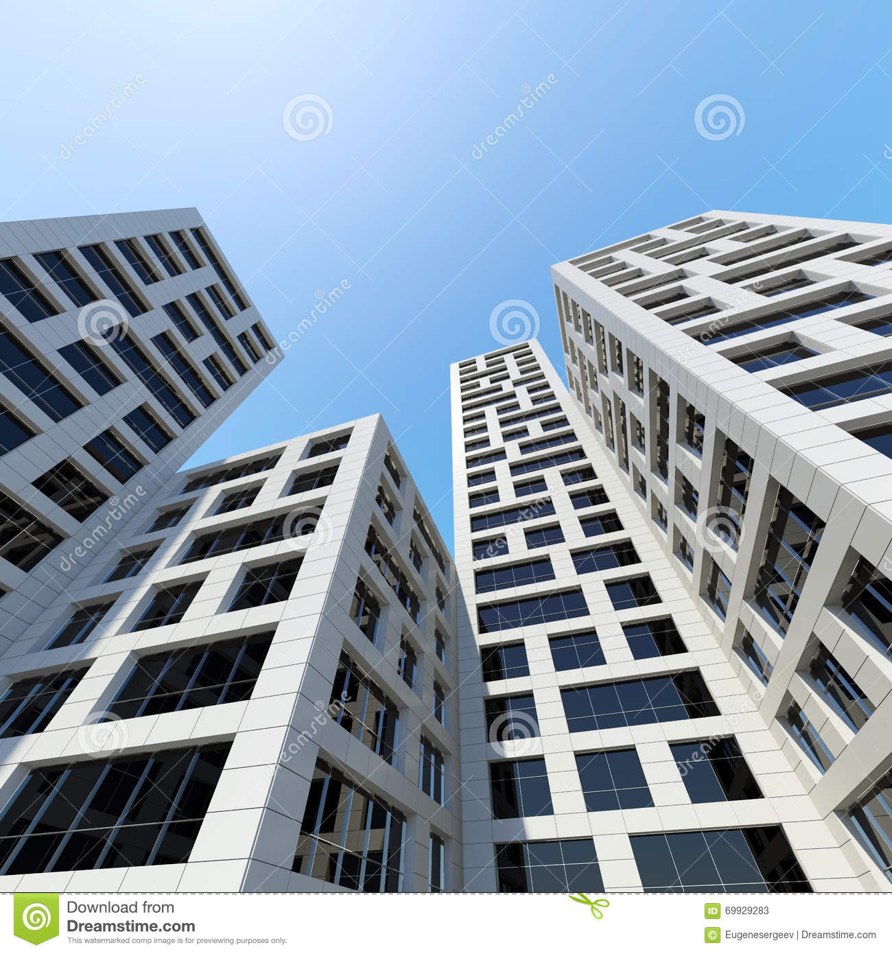 Modern Architecture Perspective city towers under blue sky. 3d render stock illustration - image
