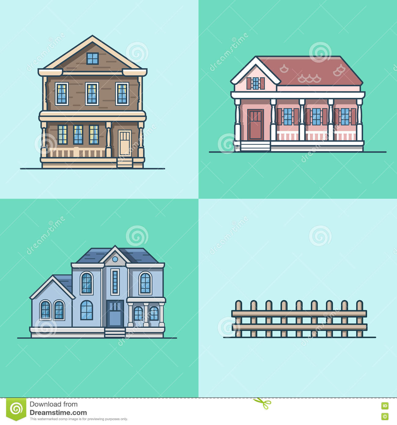 City Flat Design House Real Estate Country Vector