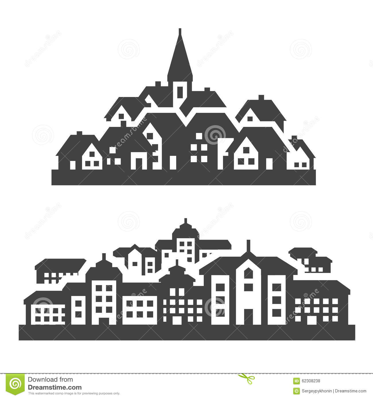 City, Town Icons Set. Signs And Symbols Stock Vector