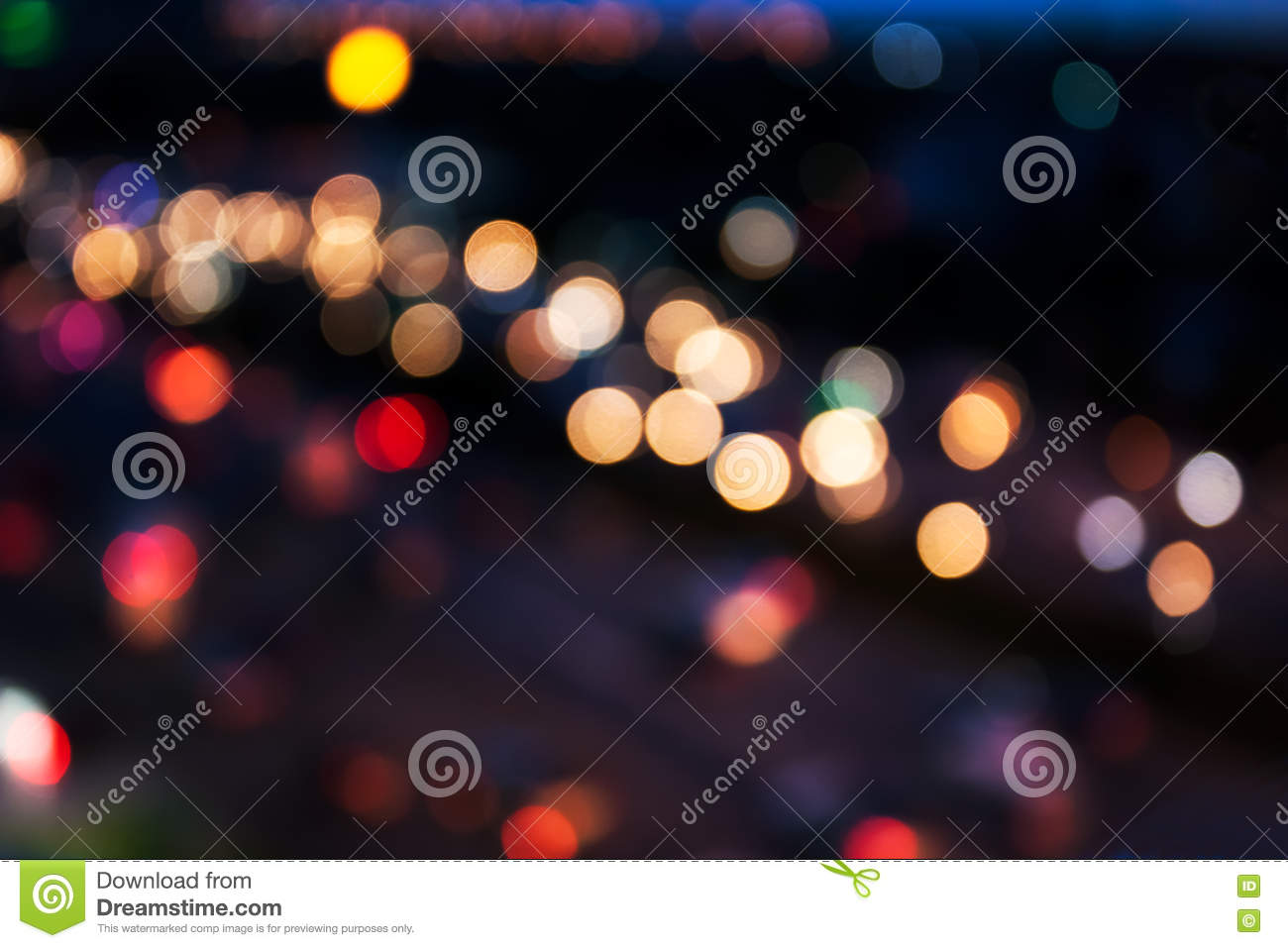 Download City And Traffic Light Bokeh Abstract Blur Background View From Above Stock Image