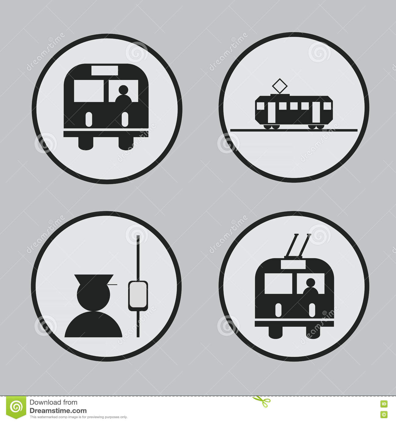 City Transportation: Bus, Tram, Trolleybus And Conductor Icons And ...