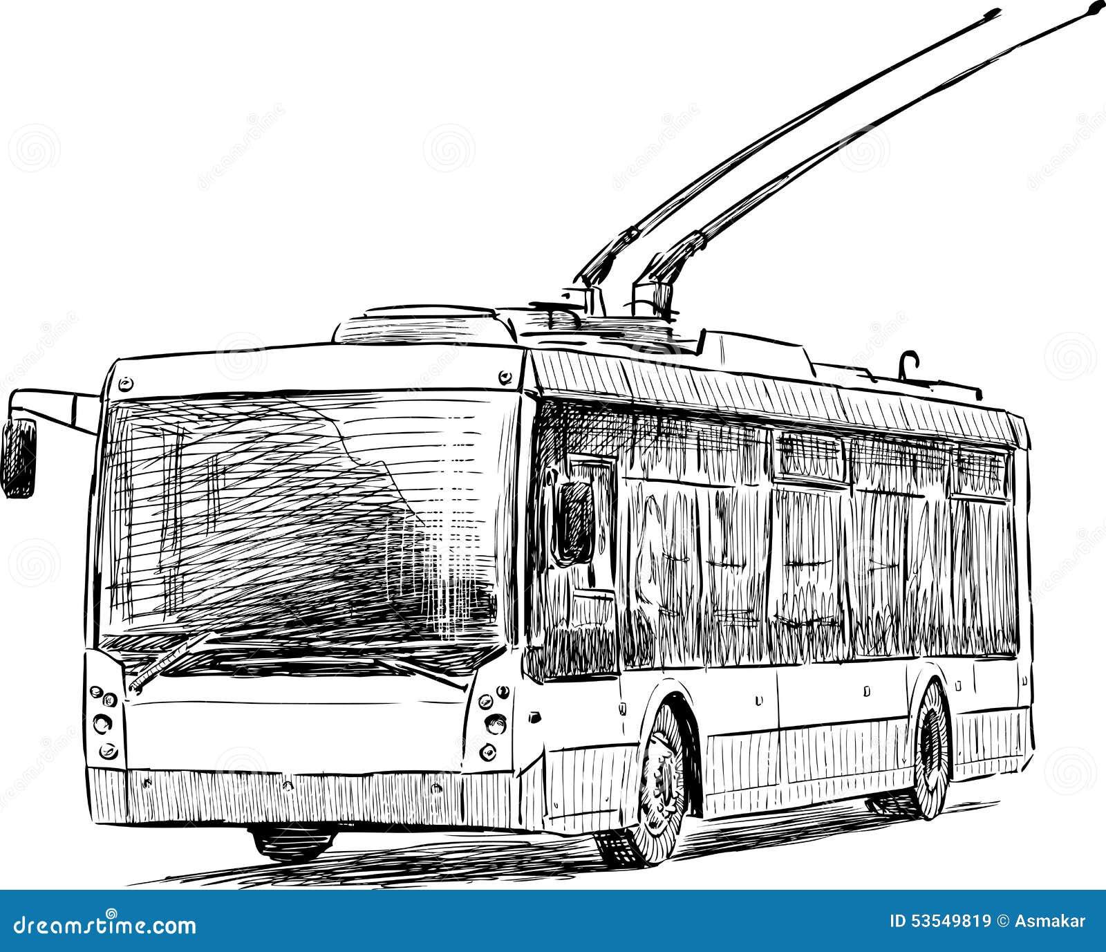 City trolleybus stock vector. Illustration of sketch - 53549819