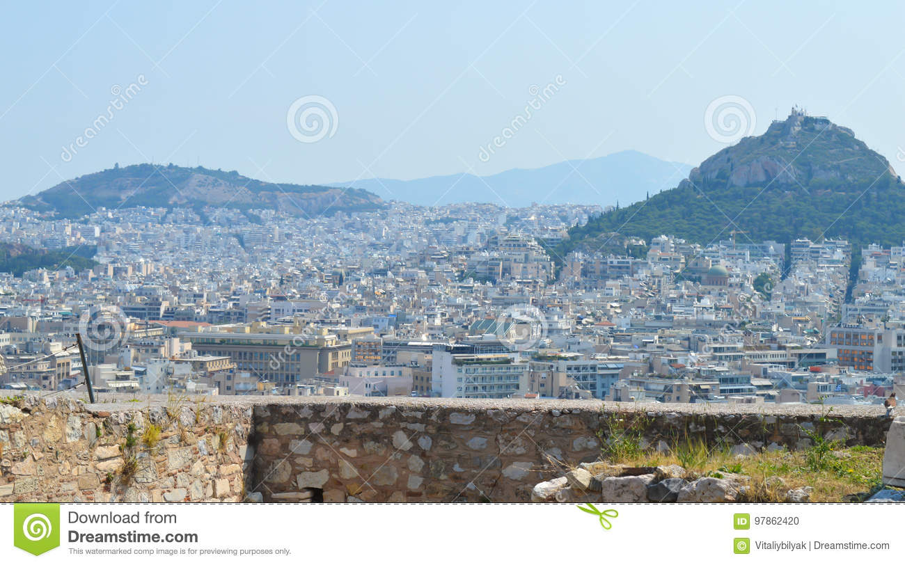 City view from Acropolis in Athens, Greece on June 16, 2017.