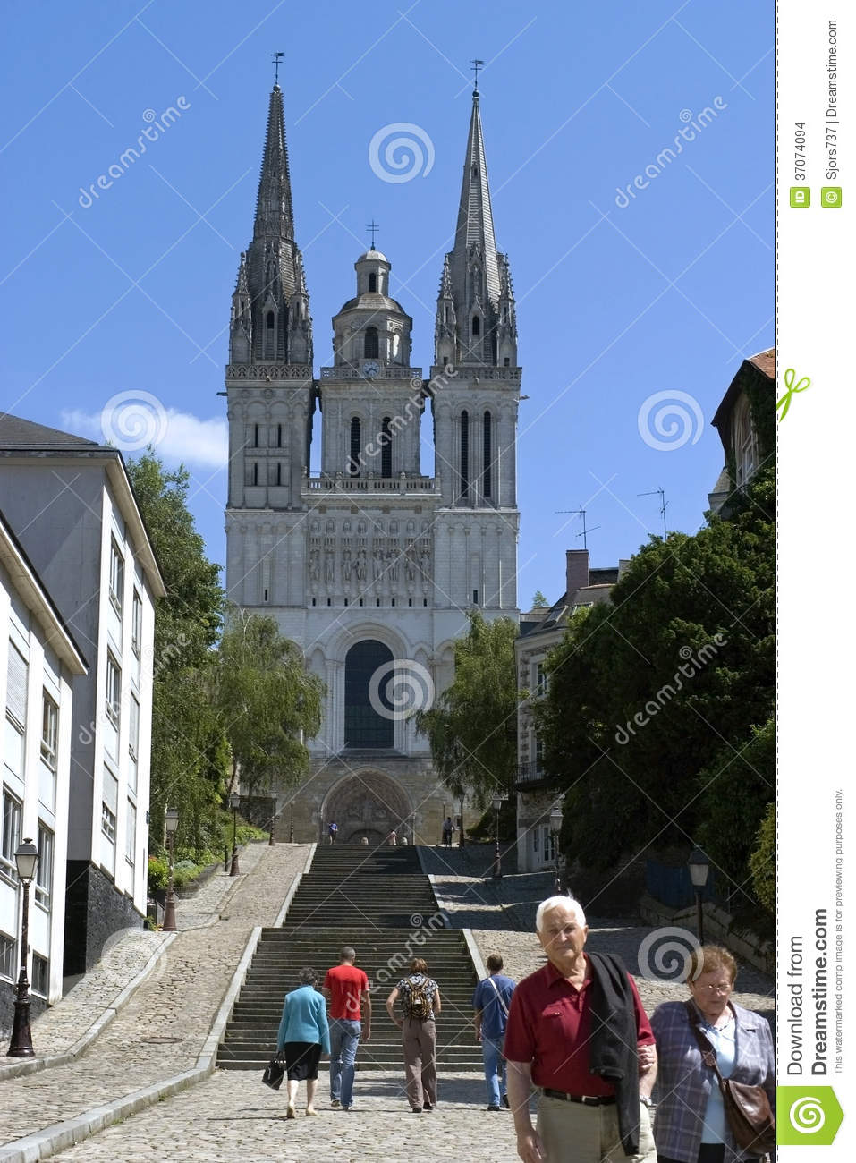 City view of angers with historic cathedral editorial - Chambre des notaires de maine et loire ...