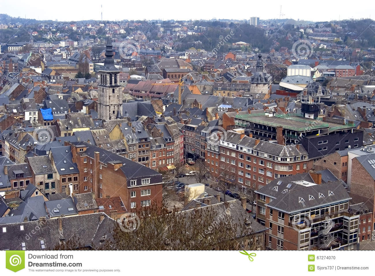 city view of historic center namur belgium editorial