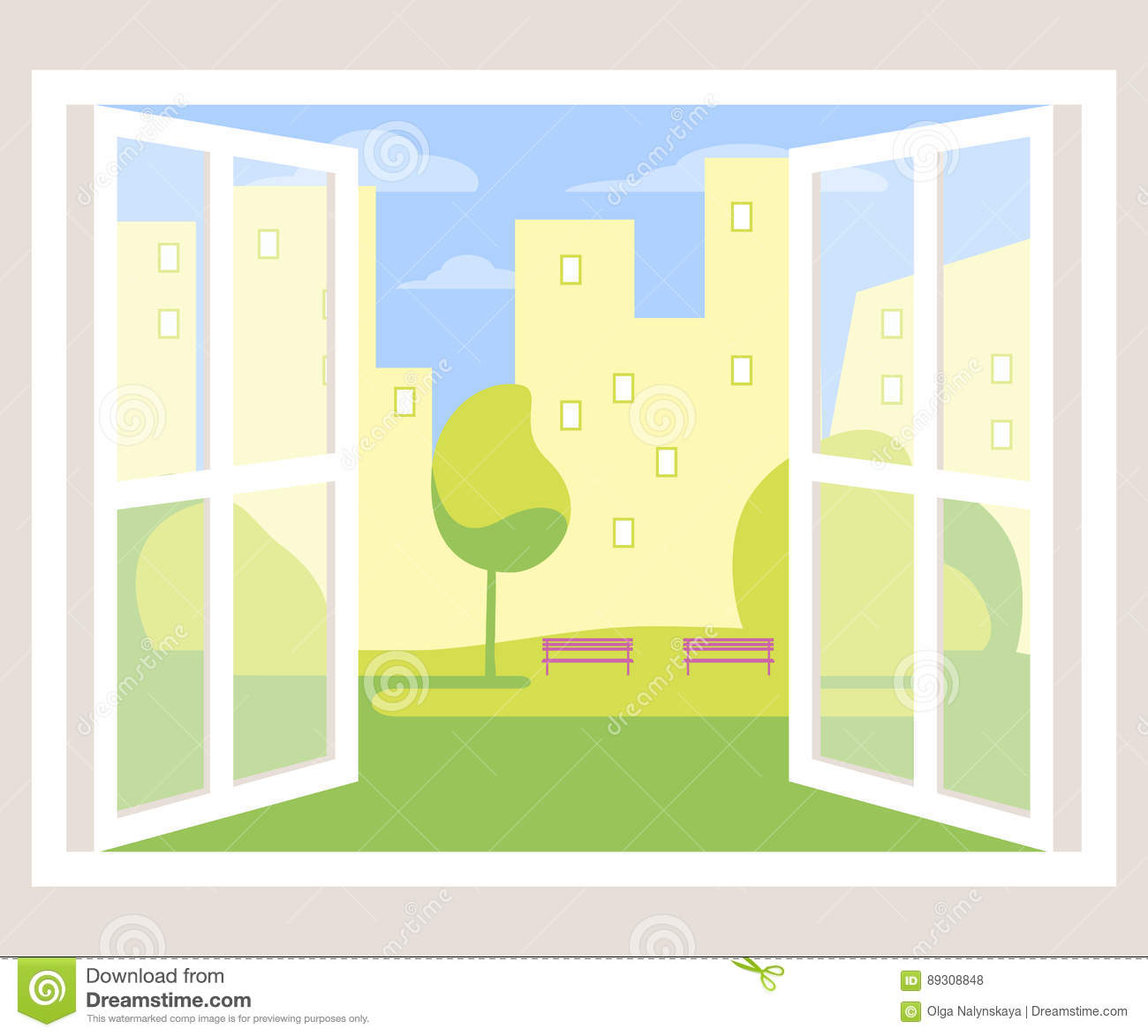 City view open window background stock vector for Window design cartoon