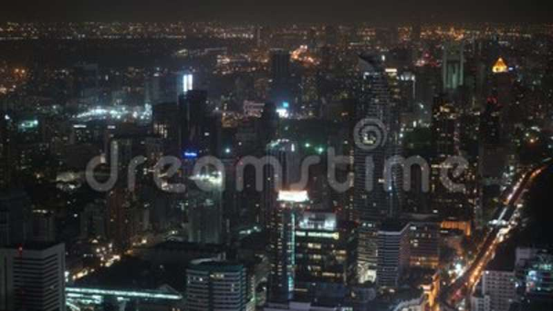City View With Skyscrapers At Night Top Corporate And Shopping Centers Office Buildings For Business In The Stock Footage