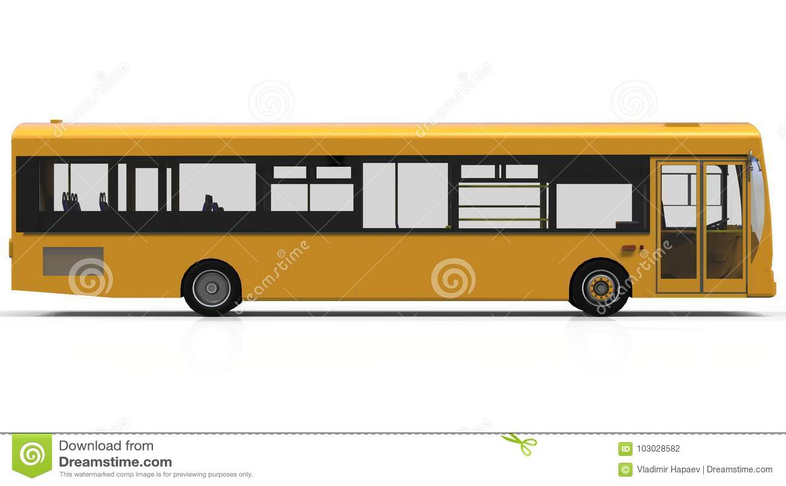 city yellow bus template passenger transport 3d illustration