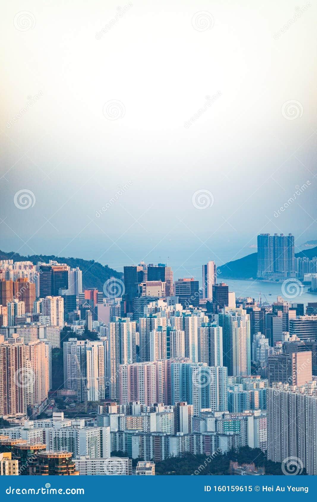 Cityscape центра города, Коулун, Гонконг