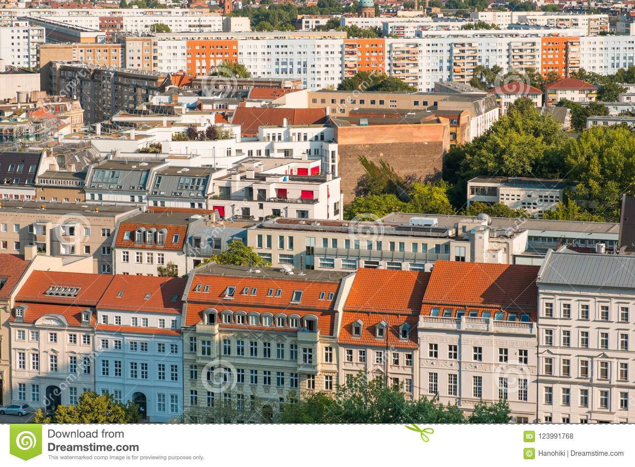 Cityscape aerial - roofs of buildings in Berlin city -