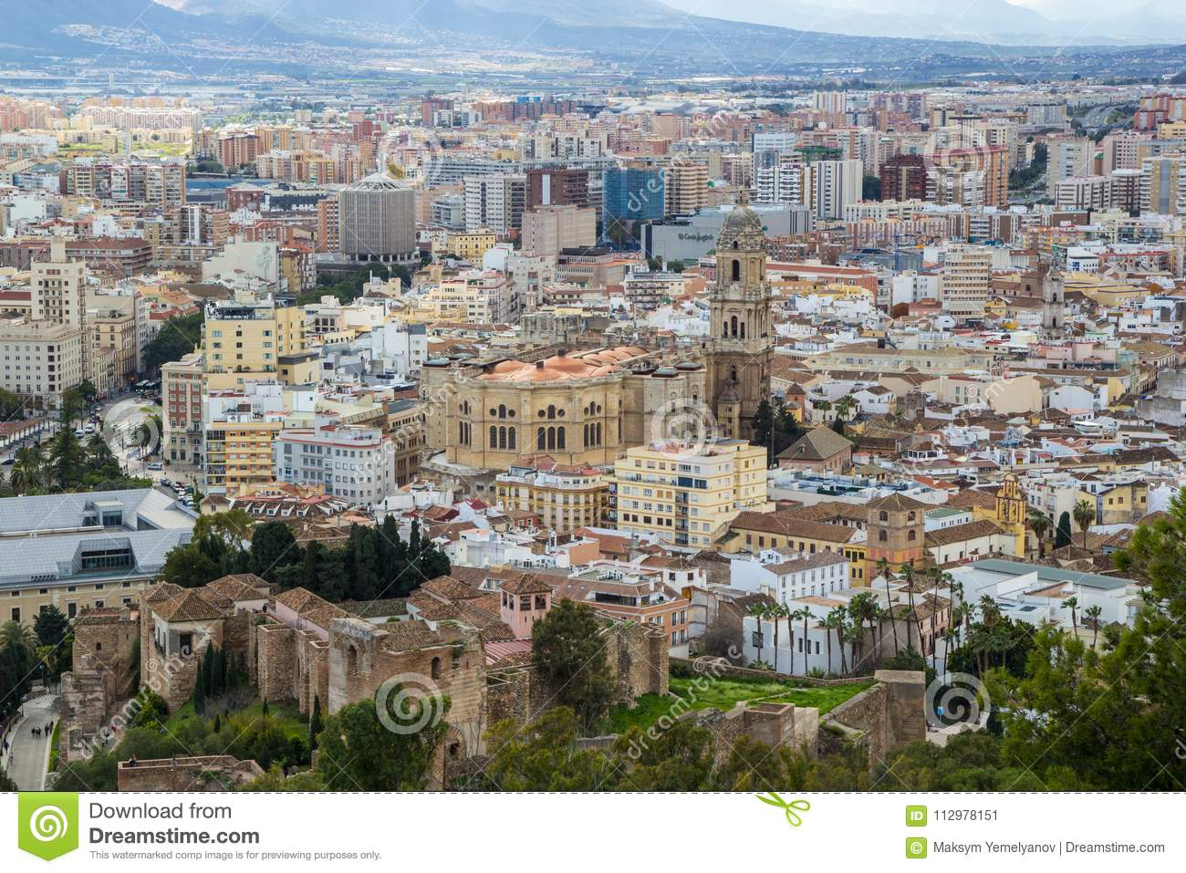 Cityscape aerial view of Malaga, Andalucia, Spain. Cathedral