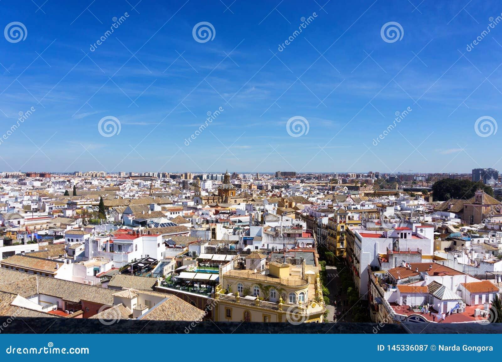 Cityscape av Seville, Spanien