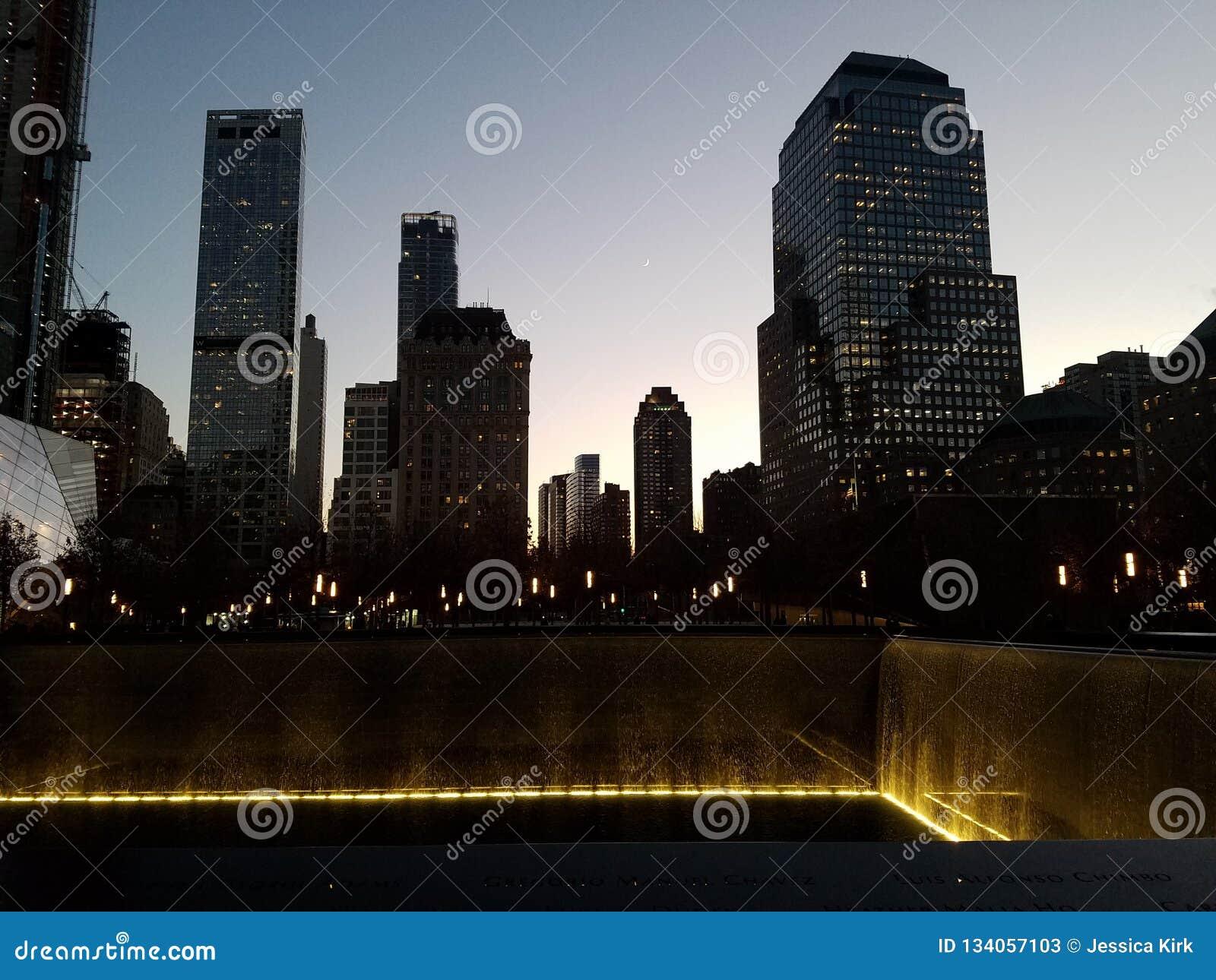 Cityscape bij schemer, de lagere Stad van Manhattan New York
