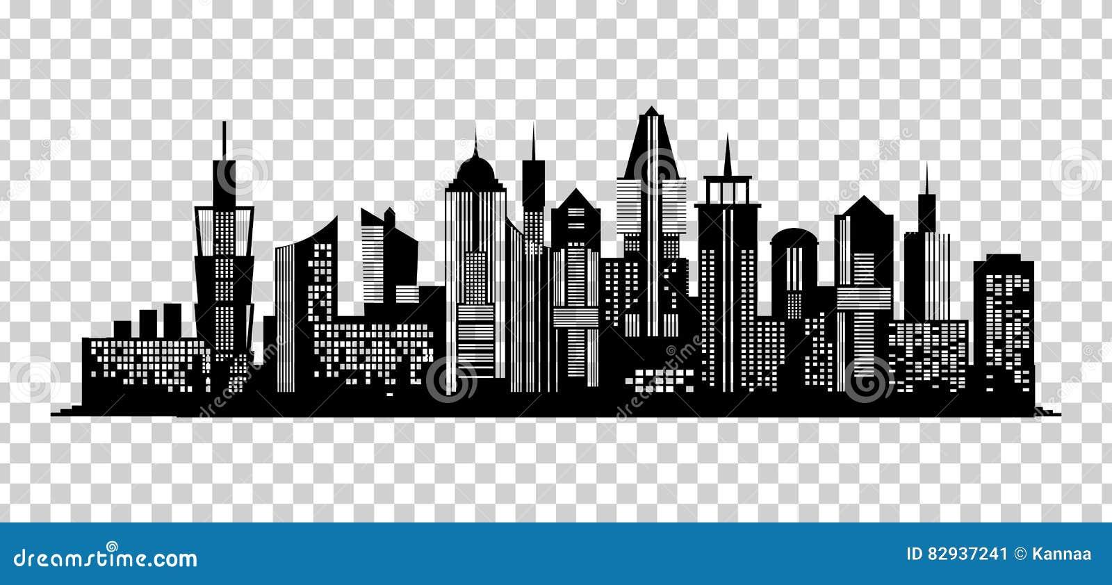 Town Landscape Vector Illustration: Cityscape Black Icon On Transparent Background Stock