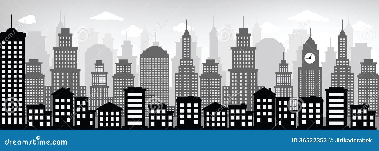 Imagenes De Edificios En Caricatura: Cityscape (black & White) Stock Photos