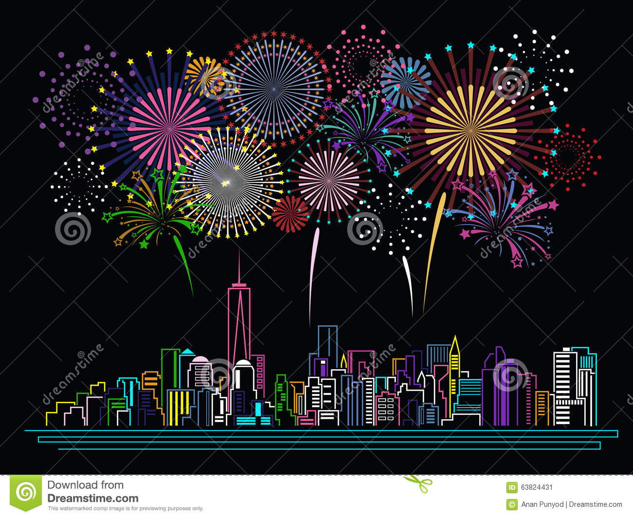 Line Art Year : Cityscape building line art and firework vector design