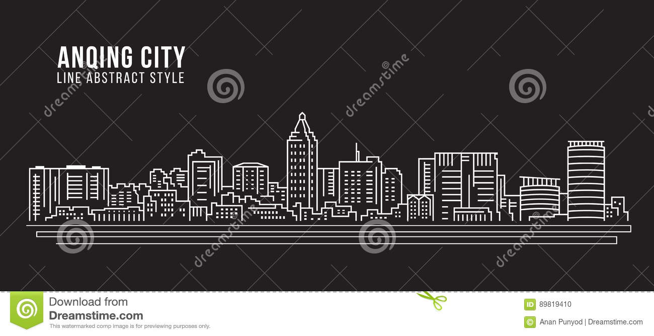 Cityscape Building Line Art Vector Illustration Design Anqing