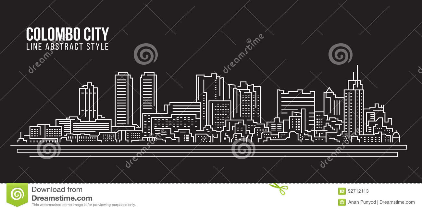 Line Art City : Cityscape building line art vector illustration design colombo