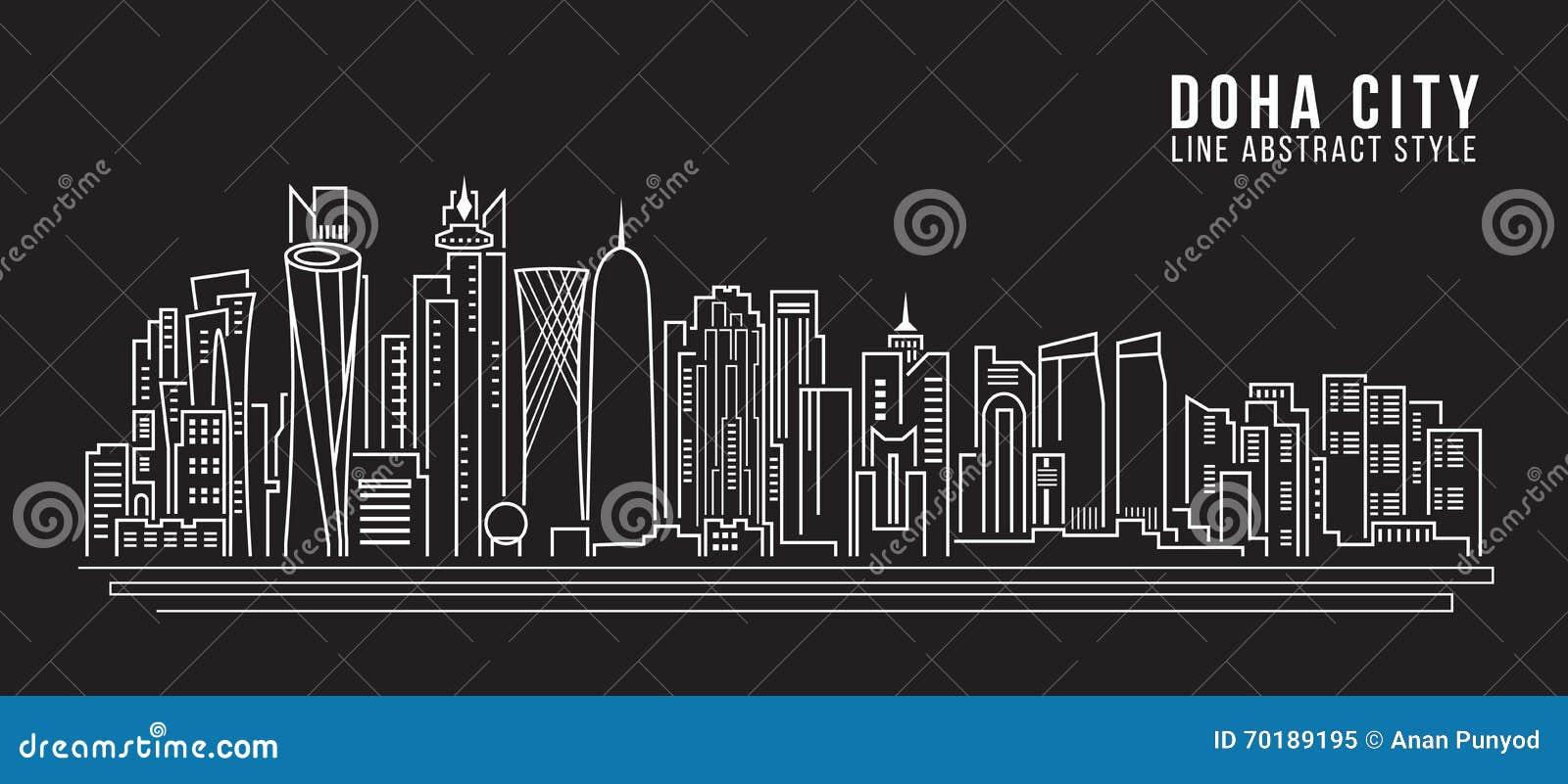 Line Art City : Cityscape building line art vector illustration design doha city