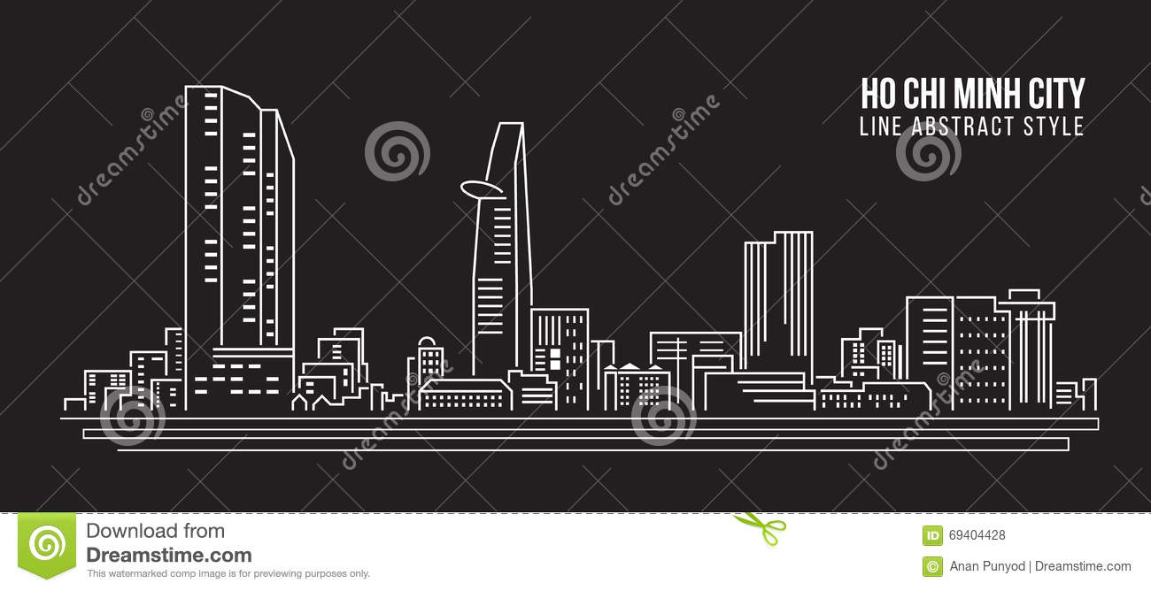 Photo To Line Art Software Free Download : Cityscape building line art vector illustration design