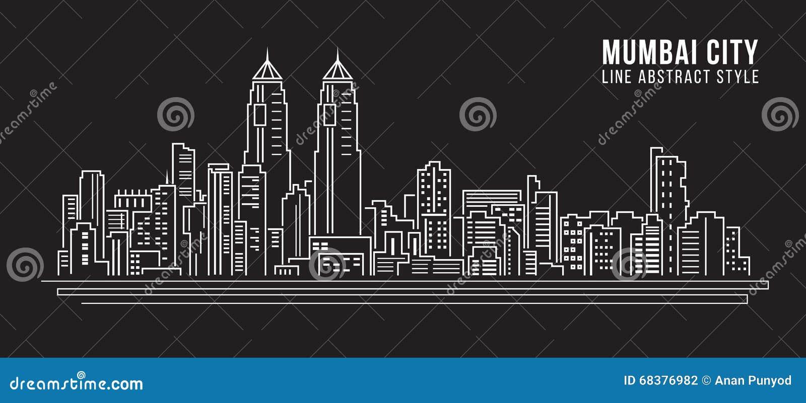 Line Art Illustration Style : Cityscape building line art vector illustration design mumbai city