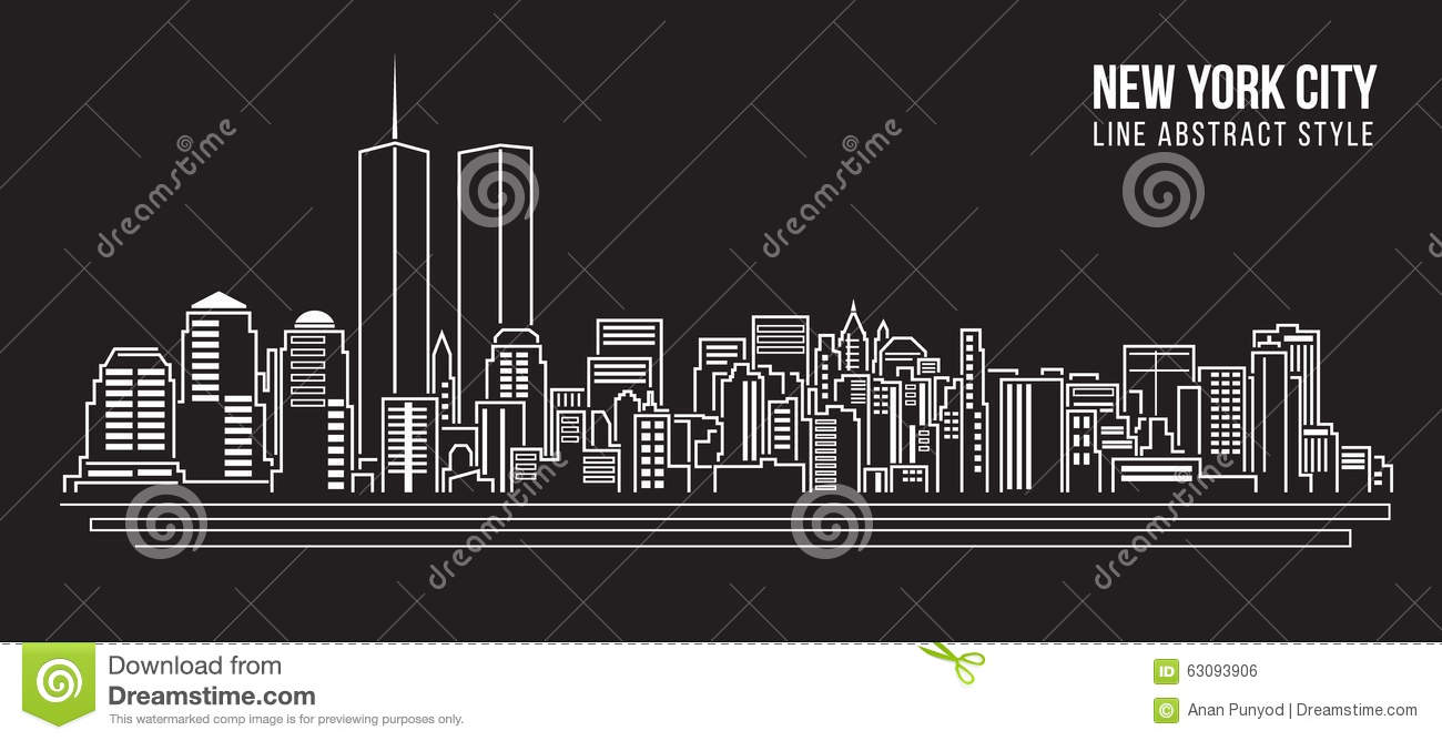 New Line Art Design : New york city skyline black and white illustration vector