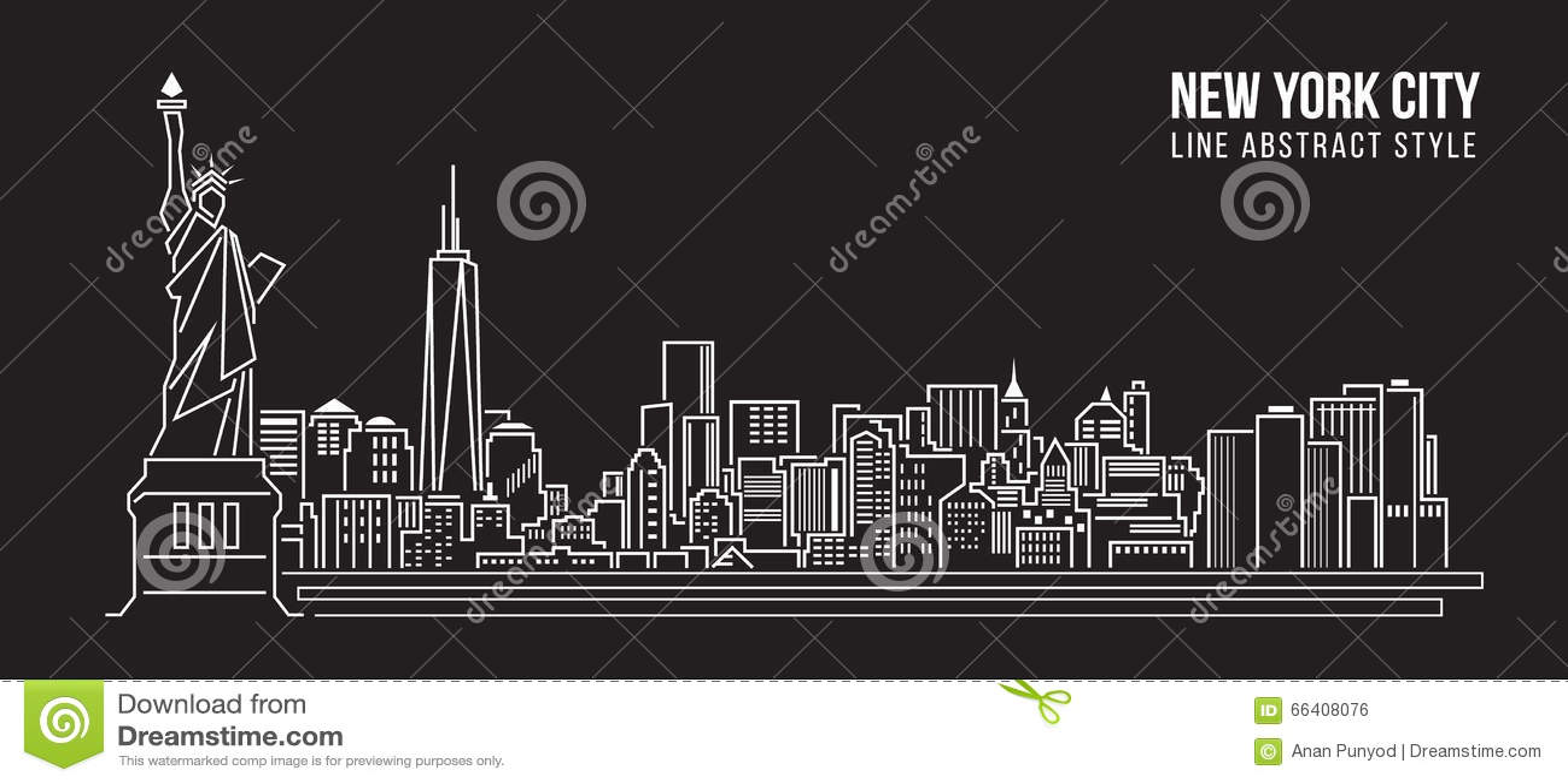 Line Art New York City : Cityscape building line art vector illustration design