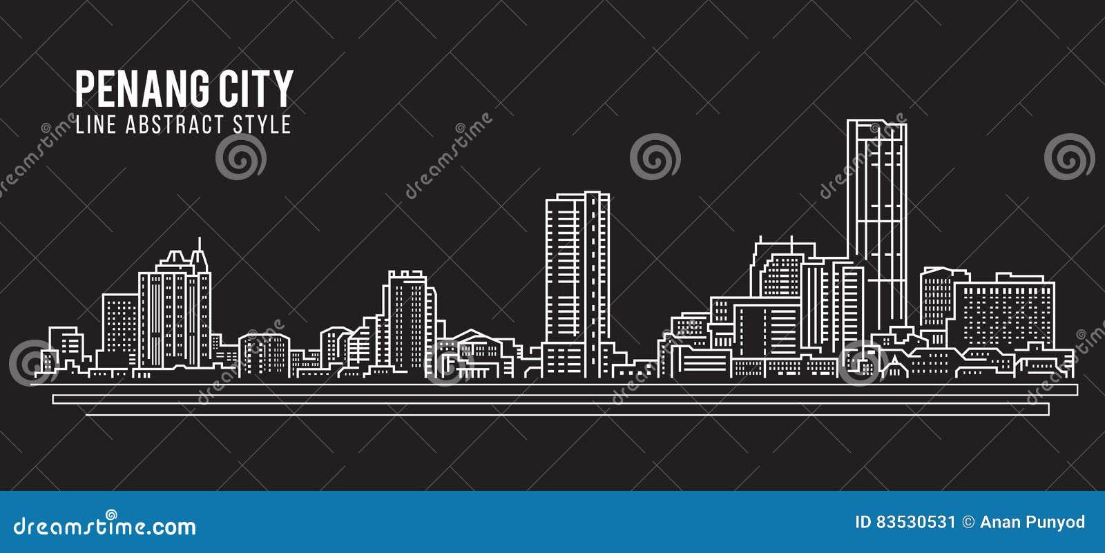 Line Art City : Cityscape building line art vector illustration design penang