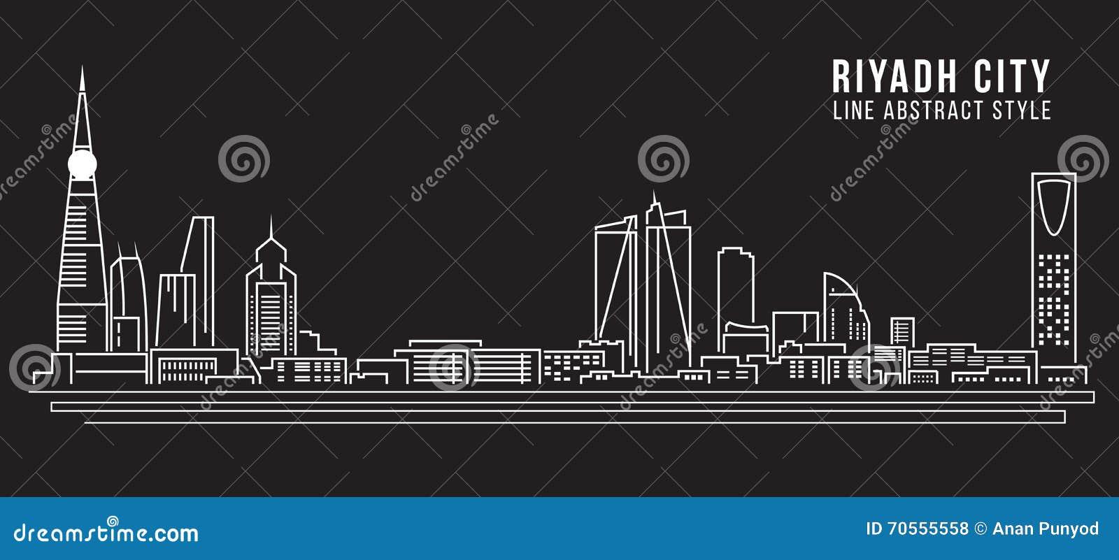 Line Art Vector Illustrator : Cityscape building line art vector illustration design riyadh