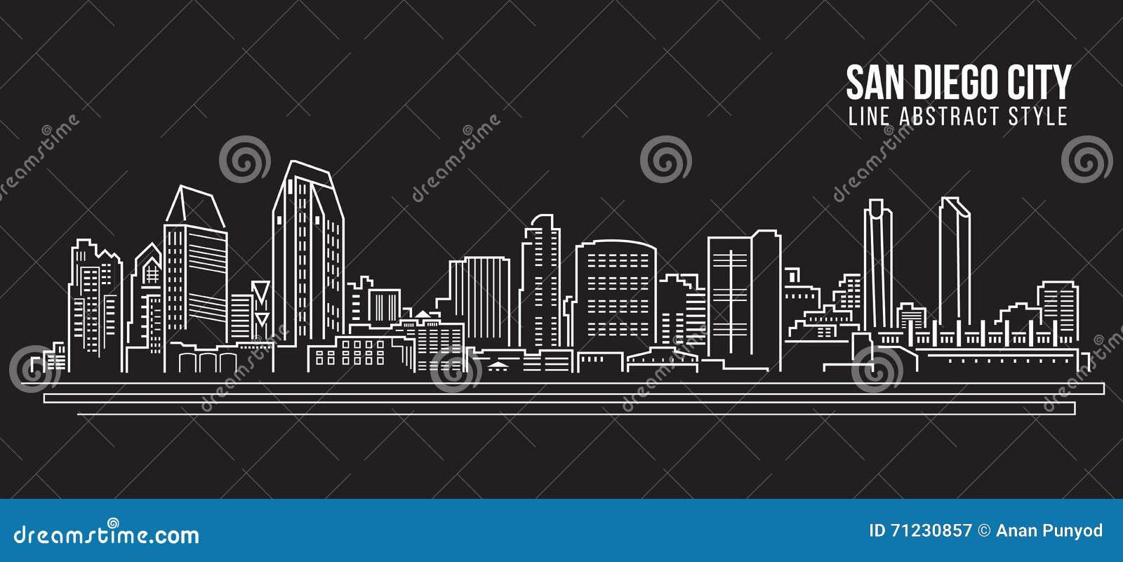 Line Art City : Cityscape building line art vector illustration design san diego