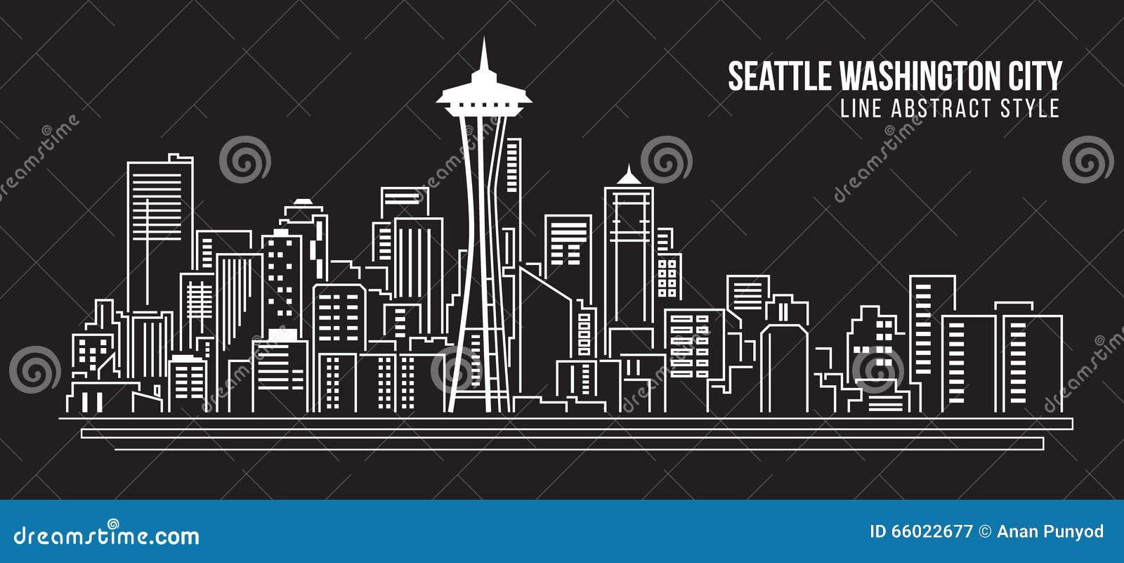 Line Art City : Cityscape building line art vector illustration design seattle