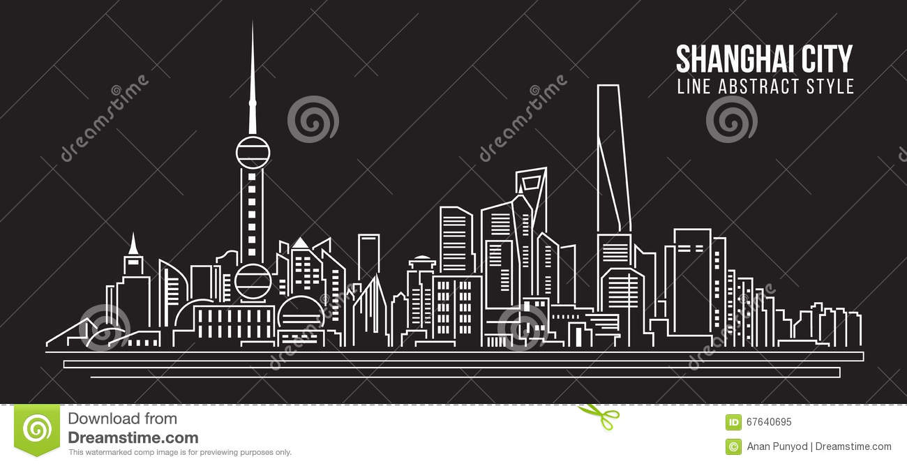 Cityscape Building Line Art Vector Illustration Design - Shanghai City ...