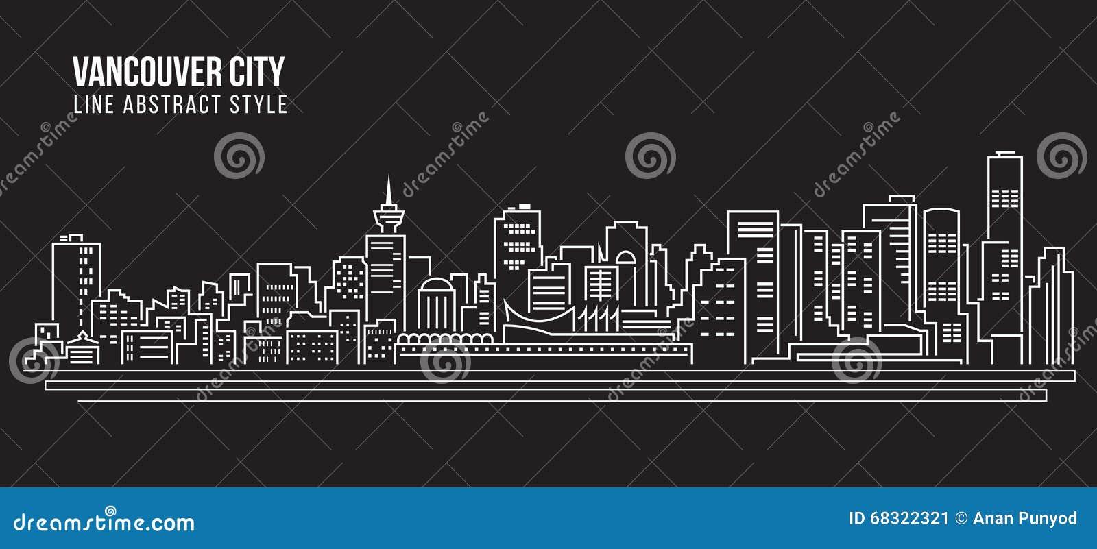 Cityscape Building Line Art Vector Illustration Design Vancouver City Stock Vector Image