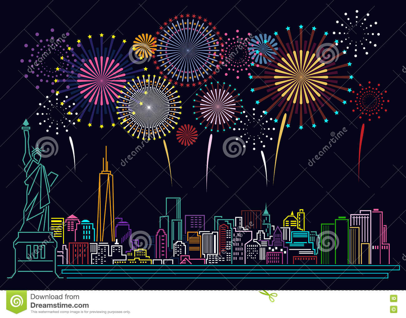 Cityscape Building Line Art And Firework Vector Design Stock ...