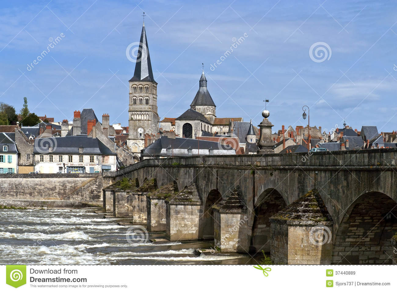 cityscape of charite sur loire at the loire river editorial stock image image 37440889. Black Bedroom Furniture Sets. Home Design Ideas