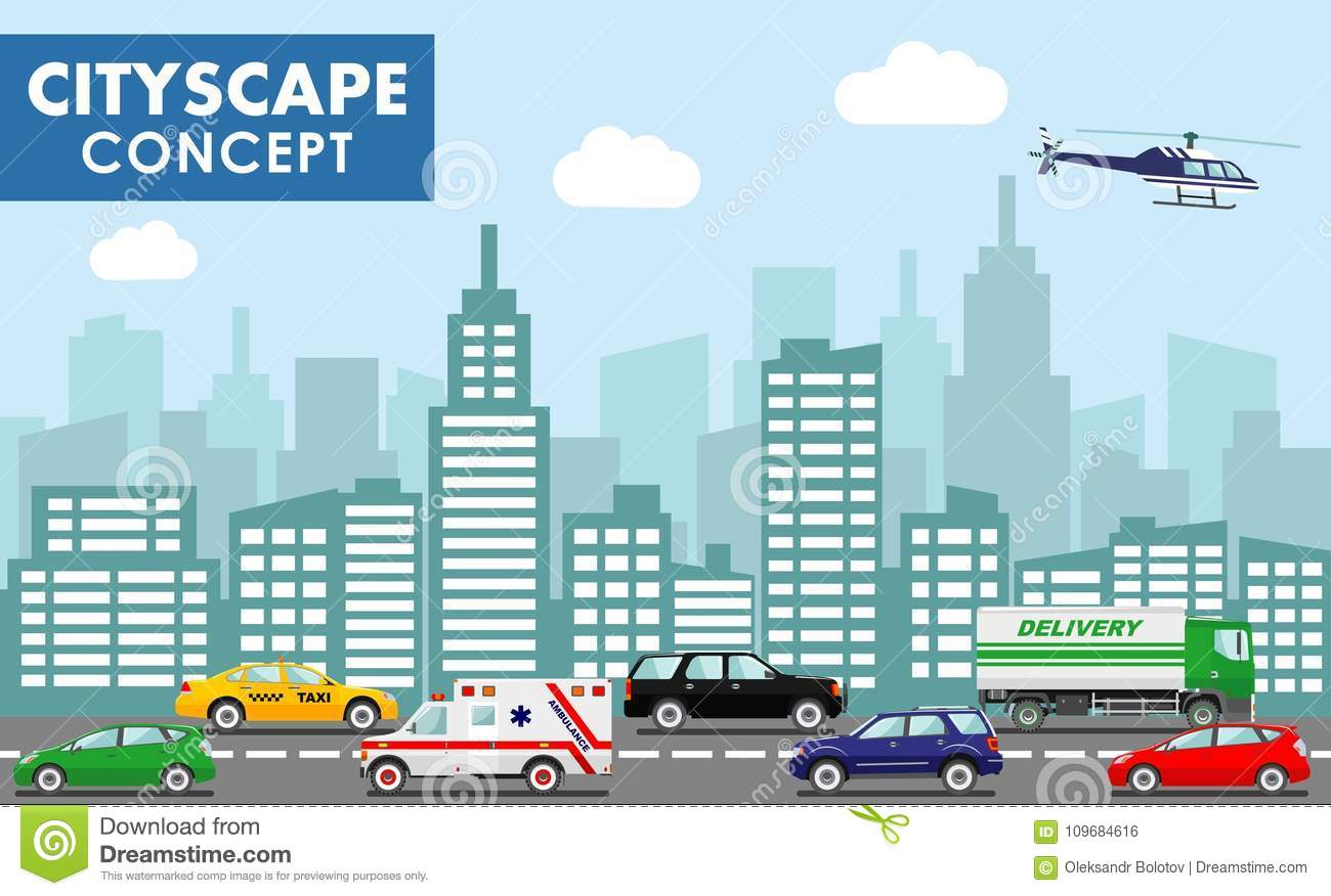d2192a2044 Urban traffic horizontal banner with different colorful automobiles on road  and modern cityscape vector illustration. Taxi