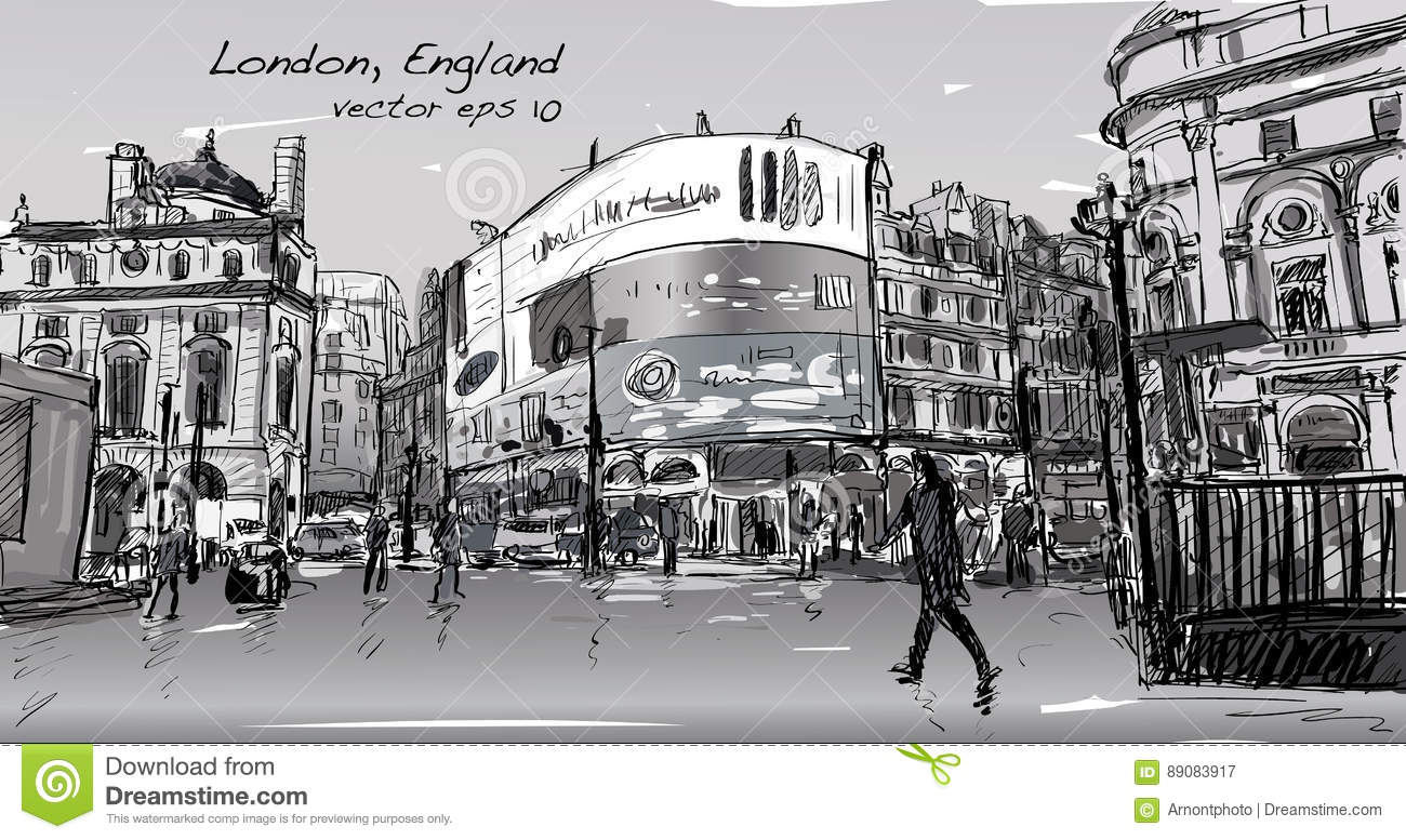 The Line Art Walk London : Cityscape drawing sketch in london england show walk street at